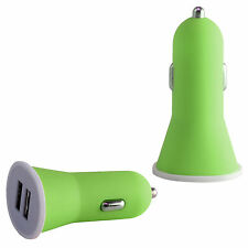 Green 2.1 AMP Rapid Double Speed Dual Universal Car Charger For Mobile & Tablet