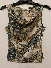 By Choice Womens Stretch Top Blouse Size Medium Cowl Neck & Sleeveless Beige