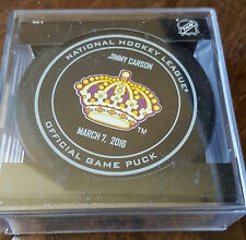 2015-16 SHERWOOD JIMMY CARSON LOS ANGELES KINGS LEGENDS NIGHT GAME PUCK 3/7/16