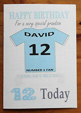 """MANCHESTER CITY FAN Unofficial PERSONALISED Football Birthday Card (""""SKY BLUES"""")"""