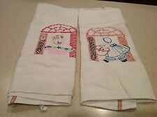 Vintage Embroidered Dish Towels Days of The Week Sun Bonnet Girls Sunday&Monday