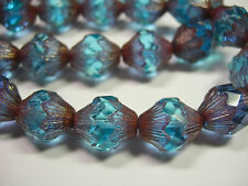 15 14x12mm Czech Glass  Sapphire Blue Copper Baroque  Bicone Beads