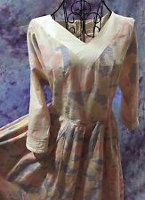 Vintage LAURA ASHLEY Pink Yellow Blue  Flower Print Collar Dress Size US 14 UK 1