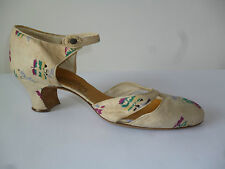 LOVELY COTTON FABRIC SHOES 20s 1930s VINTAGE ANTIQUE ANKLE STRAP LOW HEEL 6?