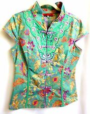 Asian Chinese Embroider Mandarin Fitted Blouse Top  Green Lavender  S?  Bust 36""