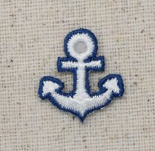 Iron On Embroidered Applique Patch Small Mini Blue and White Anchor Nautical