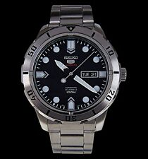 NEW MEN'S BLACK DIAL 100M SEIKO 5 SPORTS 24 JEWEL 4R36 AUTOMATIC WATCH SRP671K1