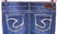 SILVER WOMENS TUESDAY FLARE DARK WASH JEANS SIZE-28W / 27L / 8R