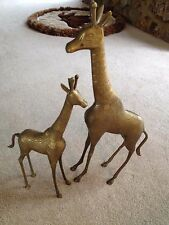 """Brass Giraffes Figurines Set of 2 Mother and Baby 22 1/2""""  & 17"""""""