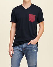 HOLLISTER by A&F Mens Contrast Pocket V Neck T-Shirt Navy FAST SHIPPING! Size XL