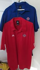 Lot of 2 Adidas NBA Detroit Pistons Golf Shirts Size Large Blue & Red EUC