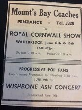H7-1 1971 Advert Ephemera Penzance Mount's Bay Coaches Wishbone Ash Prog Fans