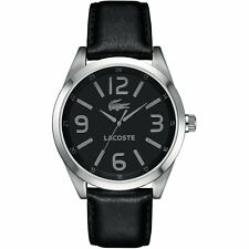 New Lacoste Montreal Men Black Leather Band Dress Watch 45mm 2010616 $195