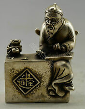 Collectible Decorated Old Handwork Silver Plate Copper Elder Play Abacus Statue
