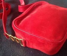 Vintage Paloma Picasso Red  Suede Crossbody Shoulder Bag