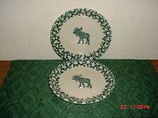 "2-PC TIENSHAN FOLK CRAFT ""MOOSE COUNTRY"" 7 3/4"" MEDIUM PLATES/CRM-GRN/STAMPED!"
