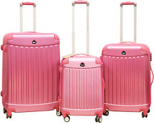 Pink Rose 3 Piece Spinner Hardside Luggage Set Rolling Expandable Lightweight