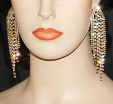 Gold With Clear Rhinestone Crystal Bridal / Prom Party Chandelier Earrings
