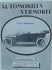 PUBLICITE VERMOREL AUTOMOBILE CHASSIS 12 HP DE 1912 FRENCH AD PUB ANCIENNE RARE