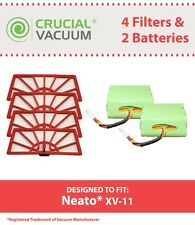 2 Neato Vacuum XV Batteries & 4 Air Filters, Part # 945-0004, 945-0005 NEW