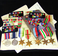 A Group of Second World War Medals + Ribbons and Supporting Documentation.