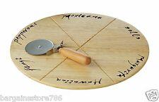 Pizza Cutting Chopping Board With Cutter Wooden Natural Round Circular