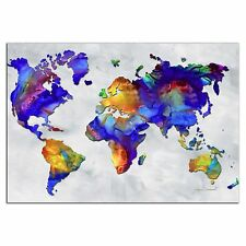 Colorful Map Art Abstract Rainbow World Artwork Metal Giclée by Megan Duncanson