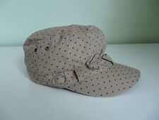 BNWT MONSOON ACCESSORIZE LADIES BEIGE SPOT PRINT RETRO MILITARY CAP BOHO HAT
