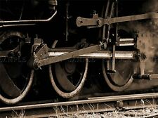 OLD STEAM TRAIN LOCOMOTIVE SEPIA TRACKS PHOTO ART PRINT POSTER PICTURE BMP1158A