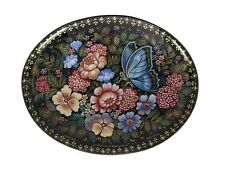 Kholui Russian Lacquer Box #3717 A BUTTERFLY on the FLOWERS