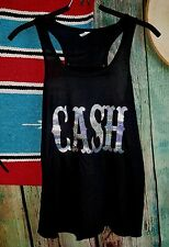 COWGIRL Bling gYPSY JOHNNY CASH Rodeo Black Tank Top Shirt Country Western XL