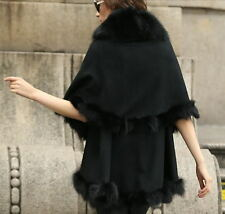 Women's Sophisticated Real fox Fur burrs Knitting poncho/cape/shawl/black/khaki