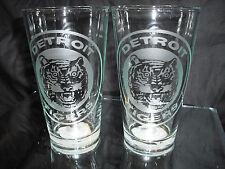 DETROIT TIGERS RETRO ETCHED (2) LOGO PINT GLASSES NEW 16 OUNCES