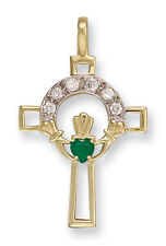 Yellow Gold Claddagh Cross Pendant With Green Agate British Made Hallmarked