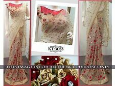 Bollywood  Designer Party Wear Beige Color Net Fabric Heavy Saree