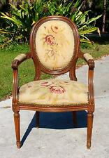 ANTIQUE-C1900- FRENCH LOUIS XV STYLE AUBUSSON UPHOLSTERED FRUITWOOD ARMCHAIR