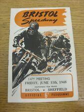 11/06/1948 Speedway Programme: Bristol v Sheffield (pencil results noted, folded