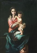 Madonna and Child Antique Old Master Oil Painting aft Bartolomé Esteban Murillo