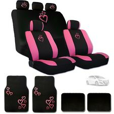 Ultimate Pink Heart Car Seat Covers Headrest Covers and Mats Set For Hyundai