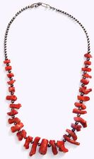 Red Branch Coral Necklace Sterling Silver Beads OLD PAWN Navajo Genuine Coral