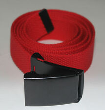 "NEW FLIP TOP ADJUSTABLE 54"" INCH RED MILITARY WEB CANVAS BLACK BELT BUCKLE"