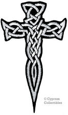 CELTIC CROSS DAGGER WHITE iron-on PATCH embroidered IRISH CHRISTIAN RELIGIOUS