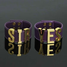 Suicide Squad Harley Quinn Bracelet Punk Style Yes Sir Letter Purple Cuff