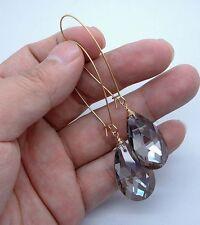 Briolette Smoky Quartz Gold Earrings -- Kidney Wire A1031