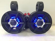Polk BLK LED Short Wakeboard Tower Boat Cage Speakers. UTV RZR Polaris Can Am!