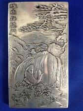 Chinese Old Chinese li yu tiao long men tibet Silver Bullion thanka amulet