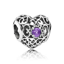 Authentic Pandora Charm February Signature Heart Synthetic Amethyst 791784SAM