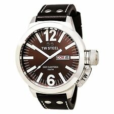TW Steel Men's CEO Canteen 50mm Brown Dial Brown Leather Watch CE1010