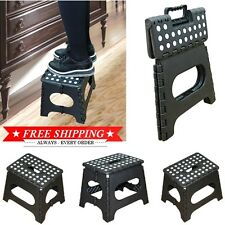 Foldable Chair Camping Plastic Folding Step Camp Stool Handle Ladder Portable RV
