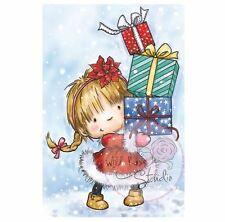 Wild Rose Studio - Clear Rubber Stamps - Girl With Xmas Presents - 422 - New Out